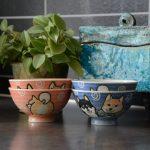 Rosa och blå risskålar med motiv av hundrasen Shiba